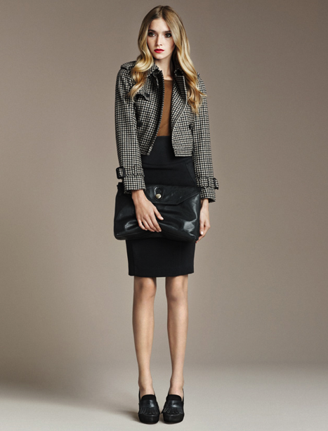 Ponte Di Roma Knit Skirt, ($40) Cashmere Jersey Top, ($80) Moccasin Fringed Heel, ($139) Large Clutch Bag, ($100)