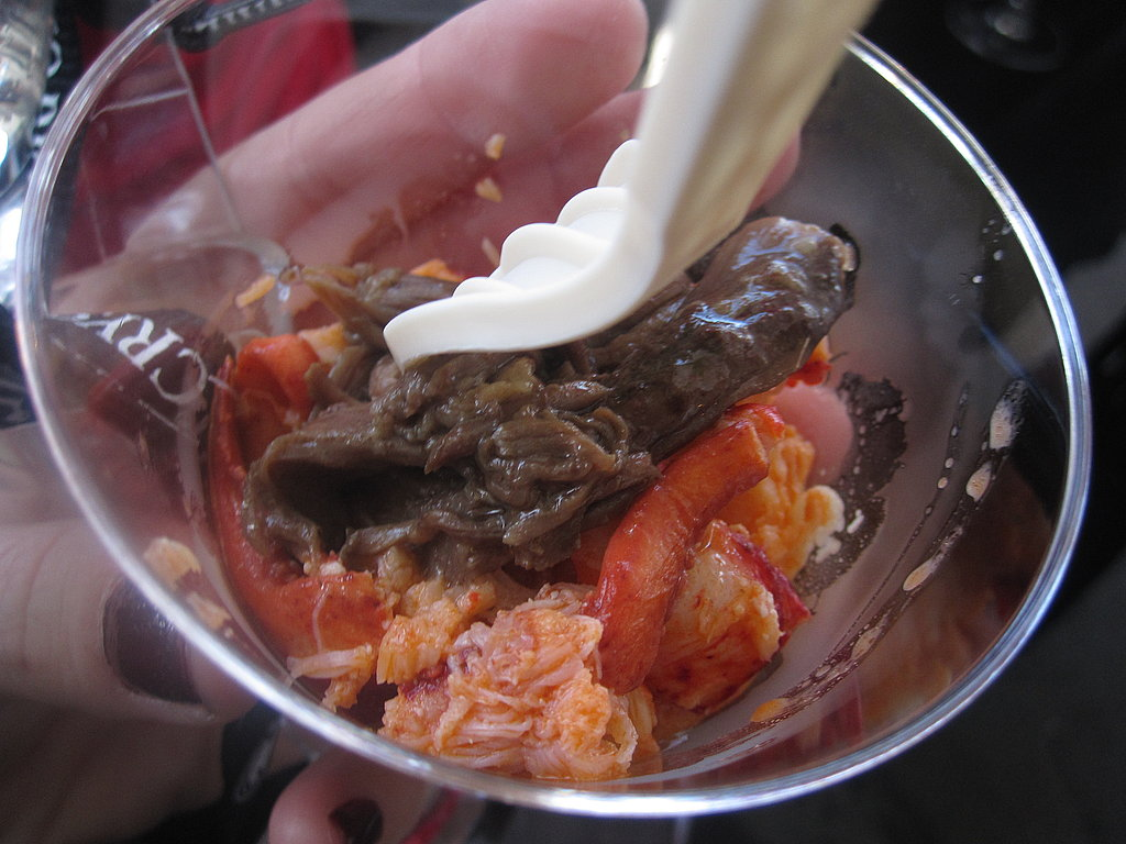 Short ribs with lobster is the best kind of surf and turf. This rich mixture was served on top of a fluffy potato puree.