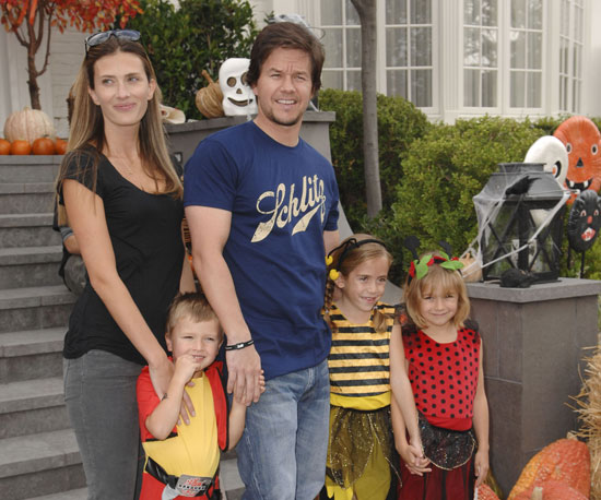 Slide Picture of Mark Wahlberg and Rhea Durham Attending a Halloween Party With Their Kids