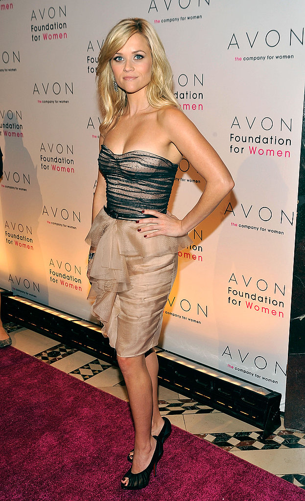 Reese Witherspoon looks cute on the streets, but here on the red carpet, she dazzled. Her nude and navy Jason Wu number stole the show at the Avon Foundation for Women gala.