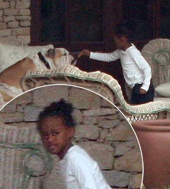 Zahara Jolie-Pitt was spotted giving the family bulldog a bone in the backyard of the family home in Budapest