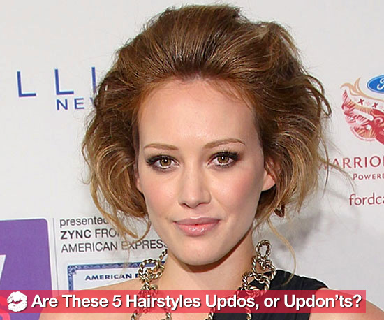 New Pictures of 5 Celebrities Wearing Good and Bad Updo Hairstyles