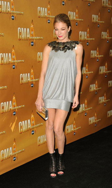 LeAnn Rimes went short and sultry in a metallic minidress and open-toe booties.