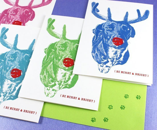 I just adore the Andy Warhol-esque quality of these technicolor Rudolph Be Merry and Bright Holiday Cards ($12 for four) —so fun!