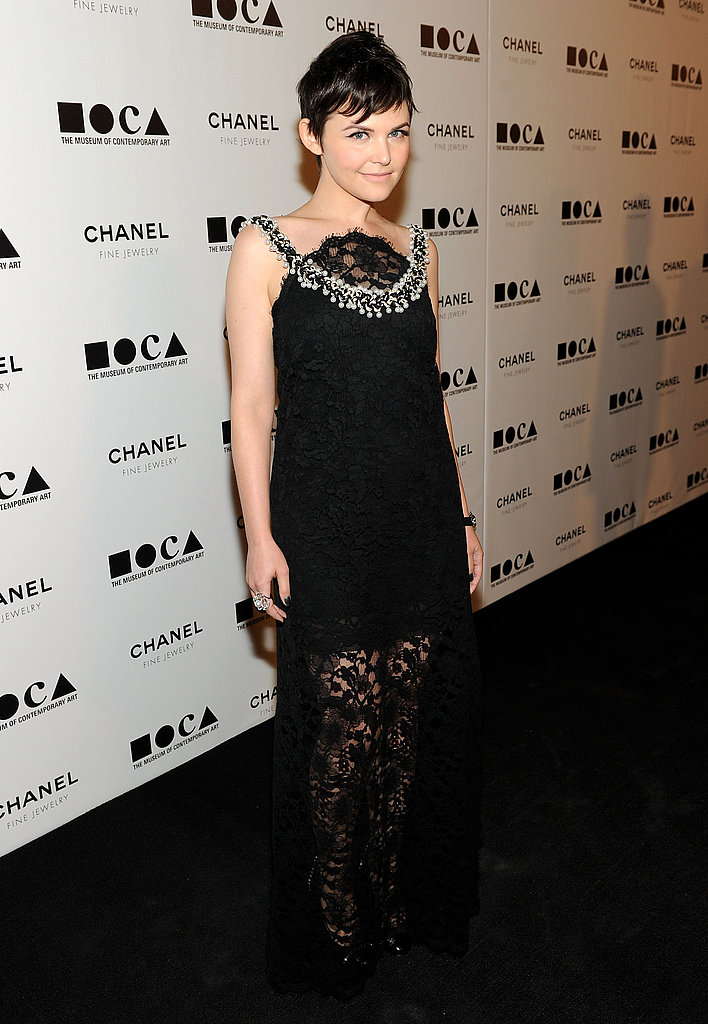 Ginnifer Goodwin made a memorable arrival in black lace Chanel.