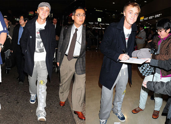Harry Potter Star Tom Felton Arrives in Japan