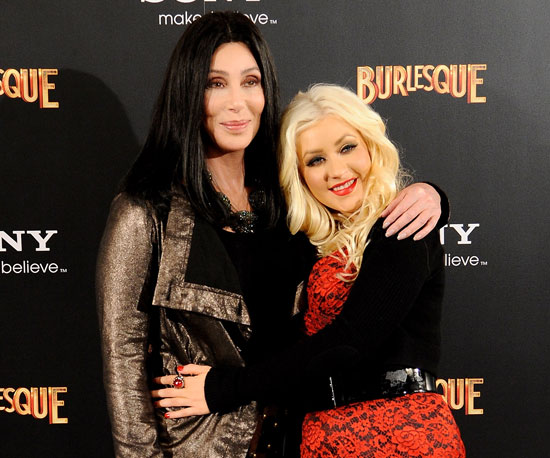 Slide Picture of Christina Aguilera and Cher at a Madrid Photo Call For Burlesque