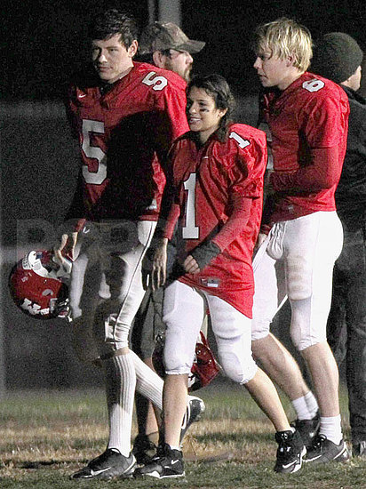 Pictures of Lea Michele in a Football Uniform Filming Glee in LA