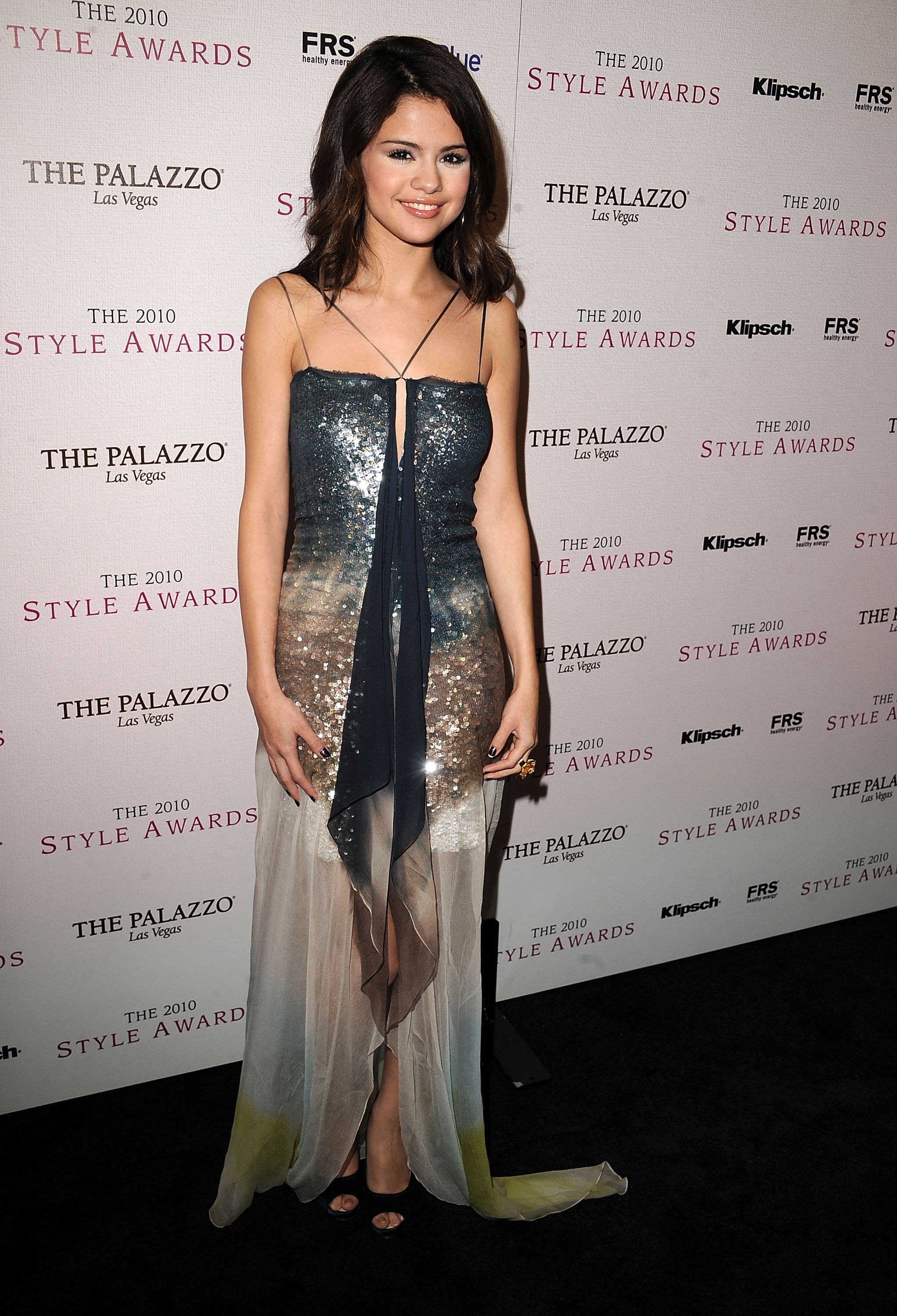 Selena Gomez glowed in a glittery sequined gown.
