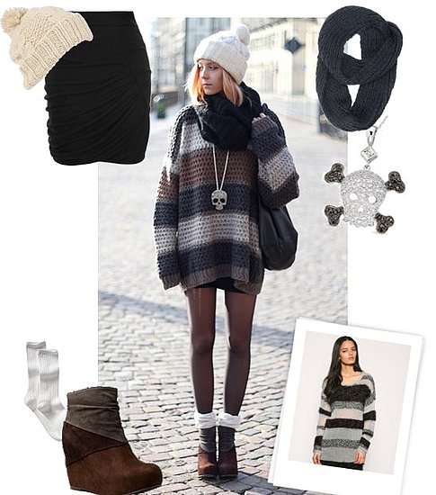 Winter Street Style Look Featuring Striped Sweater and Wedge Boots From Jeffrey Campbell