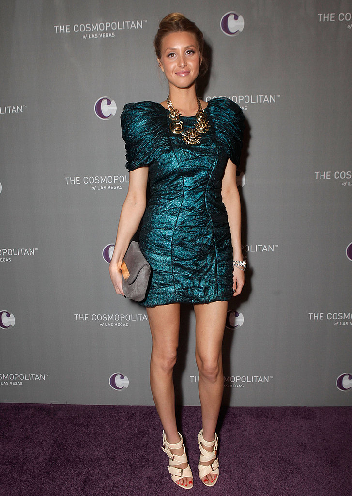 I'm crazy about Whitney Port's voluminous emerald green minidress and statement jewels.
