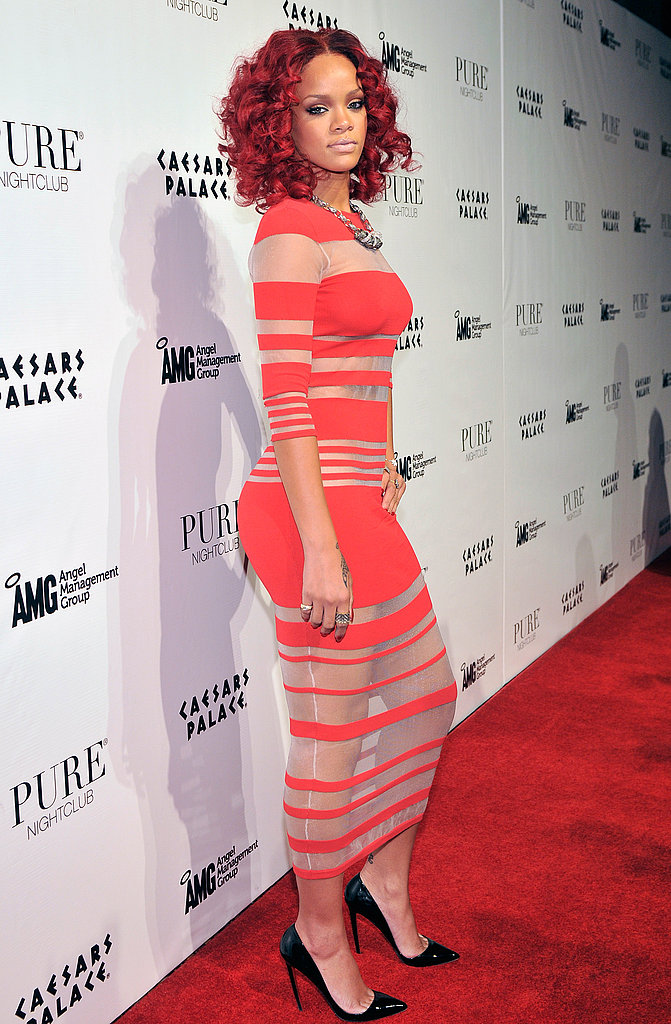 Rihanna favoured stripes over sequins in this nude and red maxi dress.