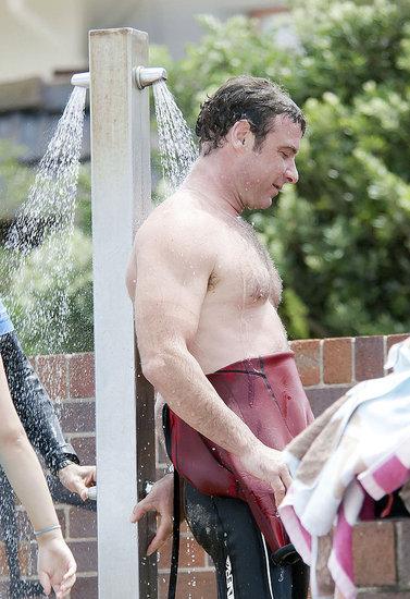 Pictures of Shirtless Liev Schreiber Surfing in Australia
