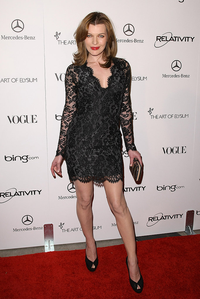 Milla Jovovich looked fabulous in a short black lace dress.