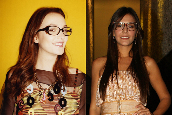 Eerie look-alikes! Leighton wears glasses and channels Margherita's geek chic beauty.