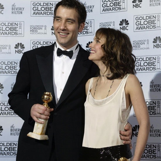 An ecstatic Natalie Portman posed with her Golden Globe and Clive Owen at the 2005 ceremony.