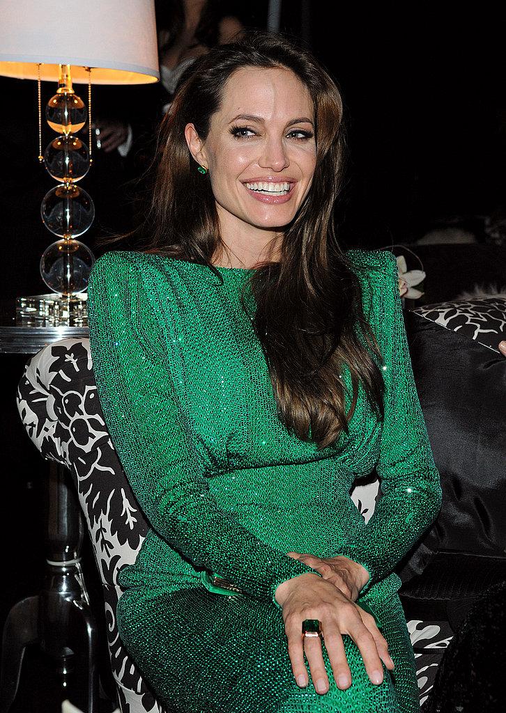 Angelina Jolie Has a Gorgeous, Green, Grinning Golden Globes
