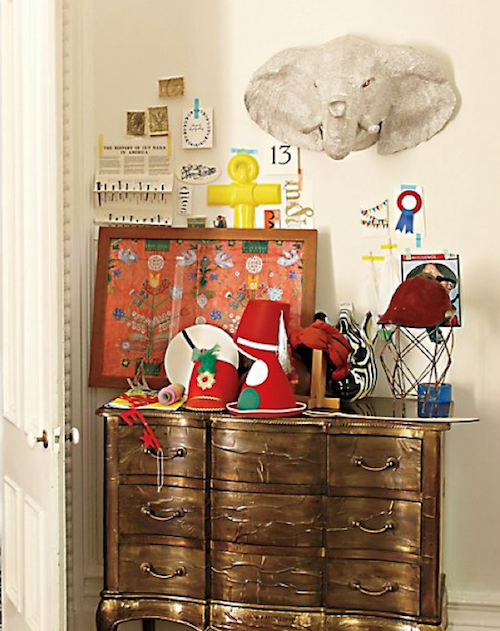 Elephants are trumpeting a return to the home decorating front. My current favorite is this Savannah Story Bust ($130).