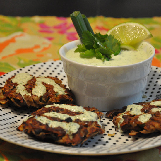 Black Bean and Sweet Potato Cake With Zesty Sour Cream