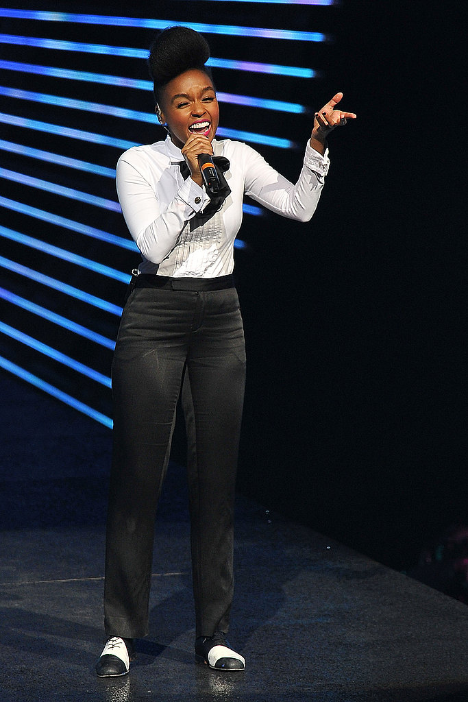 Janelle Monae gets the crowd going.