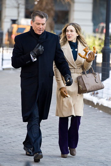 Pictures of Sarah Jessica Parker and Pierce Brosnan Filming I Don't Know How She Does It