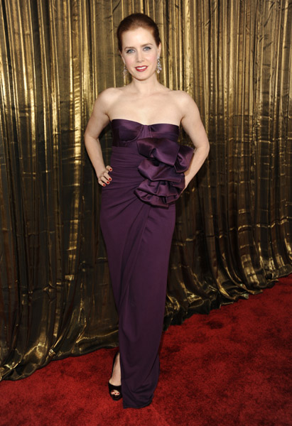 Amy Adams in a ruffled maroon strapless for the awards in 2003.