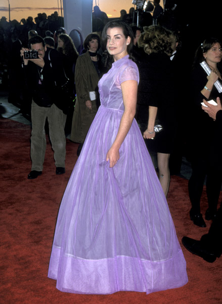 Julianna Margulies channelled a fairy-tale look in lilac in 1996.