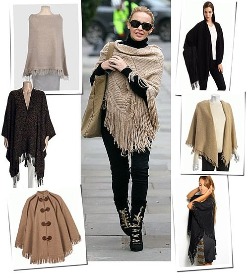 Kylie Minogue Wearing a Fringe Shawl in London