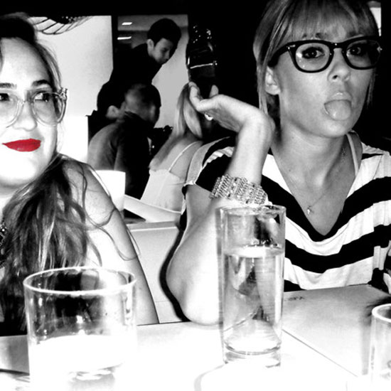 Lauren Conrad joked around at dinner with a friend.  Source: Twitter user laurenconrad