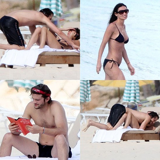 Pictures of Shirtless Ashton Kutcher With a Bikini-Clad Demi Moore in the Caribbean