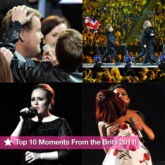 Slideshow of Pictures of the Top 10 Moments From the Brit Awards 2011 Inc Justin Bieber and James Corden, Take That, Rihanna