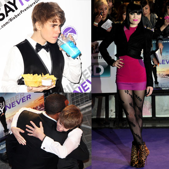 Pictures from the UK Premiere of Justin Bieber Never Say Never, Justin Bieber Hugging Craig David, Jessie J, Alesha Dixon
