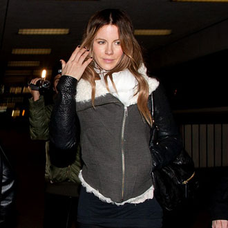 Pictures of Kate Beckinsale Wearing Helmut Lang jacket and Fiorentini & Baker boots