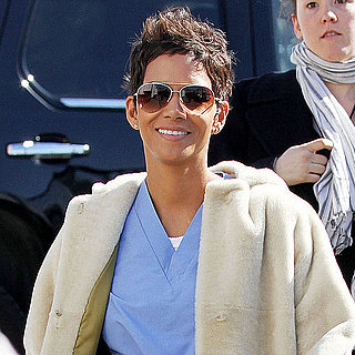 Pictures of Halle Berry Showing Up to the New Year's Eve Set in Scrubs