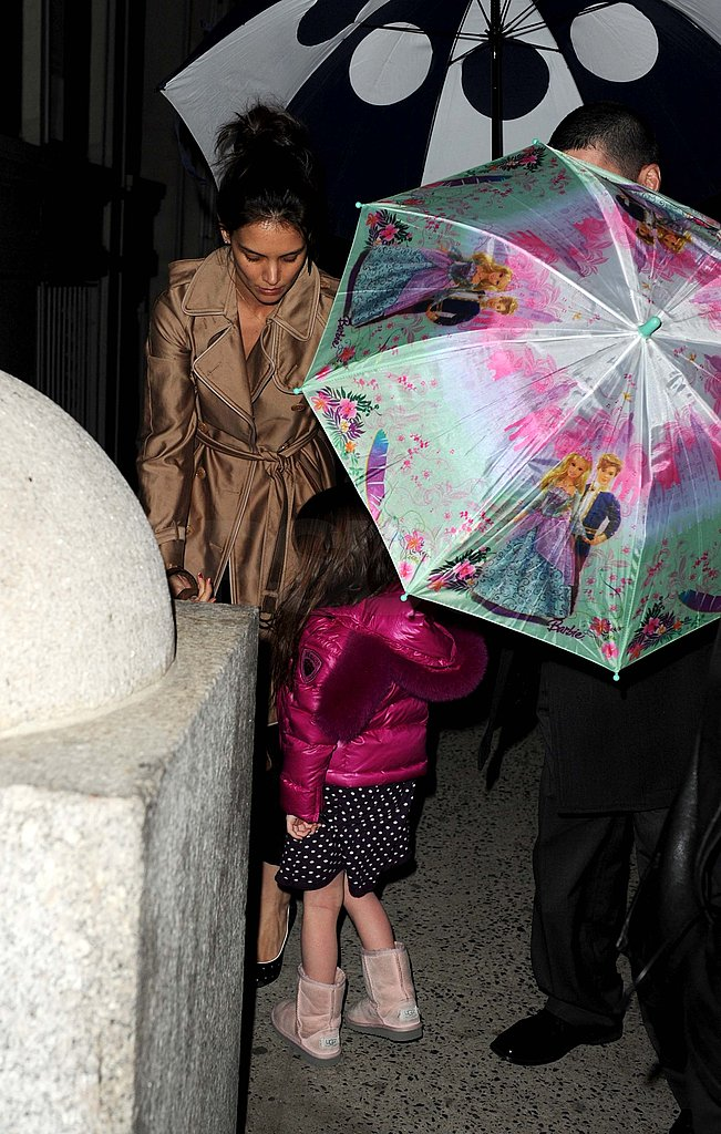 Katie Holmes and Suri Stop to Play With Their Umbrellas in the Big Apple