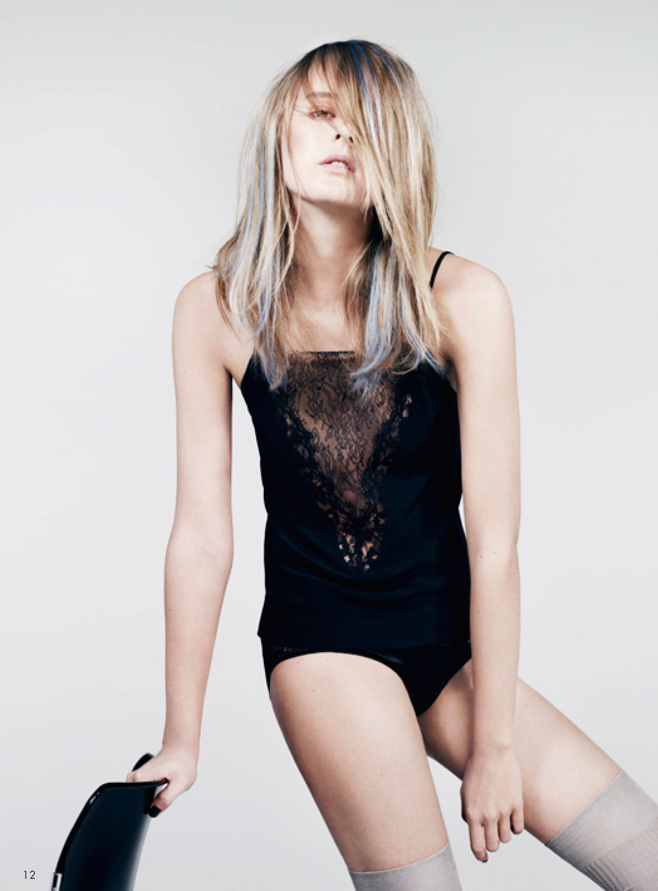 Silk and lace thin strap deep V-neck camisole top, silk and lace panties