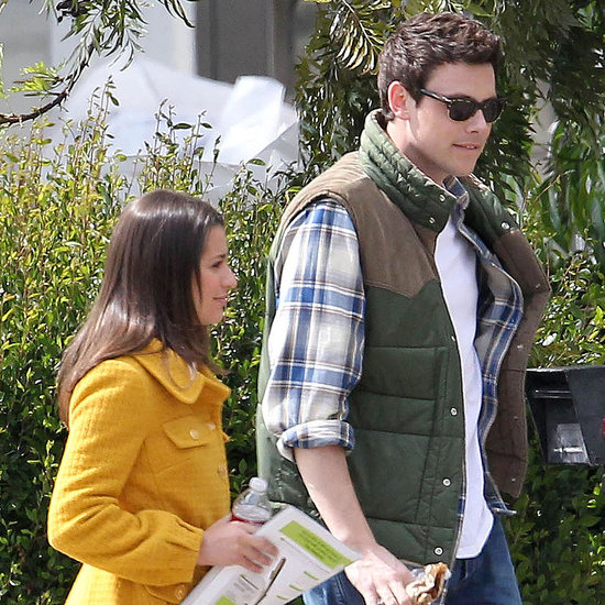 Pictures of Lea Michele, Chord Overstreet, and Corey Monteith on the LA Set of Glee