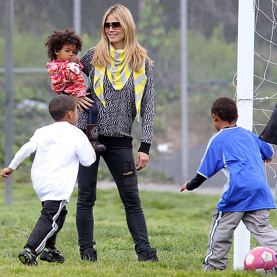 Pictures of Heidi Klum With Leni, Henry, Johan, and Lou at Park