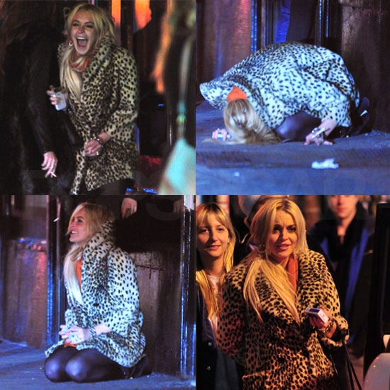 Pictures of Lindsay Lohan Smoking and Hanging Out With Friends in NYC