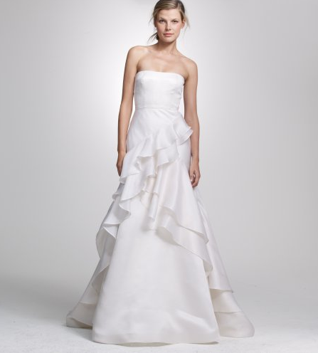 Soft and sculptural all at once, with ruffles that just float down the dress without overpowering a still-simple silhouette.  J.Crew Cascade Gown ($2,500)