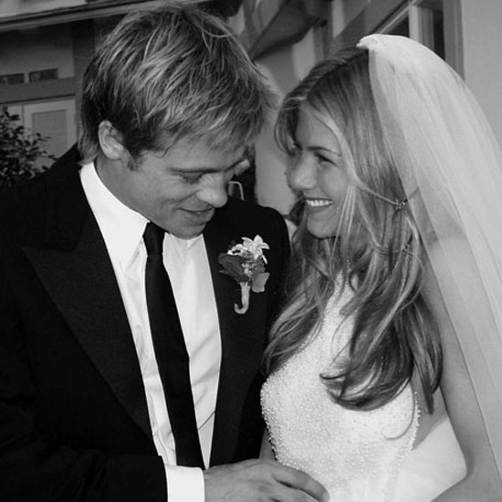 When Brad Pitt and Jennifer Aniston tied the knot in Malibu in July 2000, Jennifer wore a Lawrence Steele glass-beaded, low-backed gown and a matching veil covered her long locks.