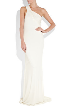 Gorgeously understated — until you catch a glimpse of the open back — stunning!  Kaufman Franco Stretch-Crepe One-Shoulder Gown ($3,495)