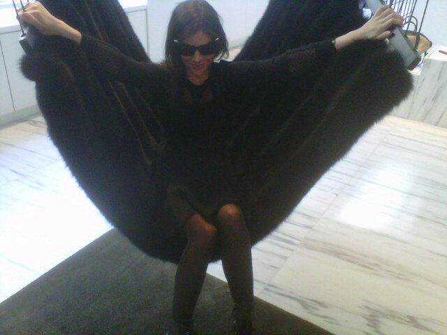 Julia Restoin-Roitfeld, we'd recoginze that fur hammock anywhere. You're in the Alexander Wang store in Soho.