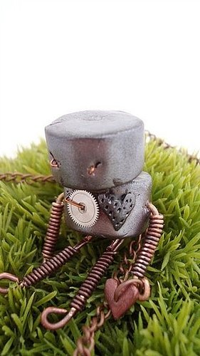 robot, jewelry, necklace, geek chic, vintage, camera