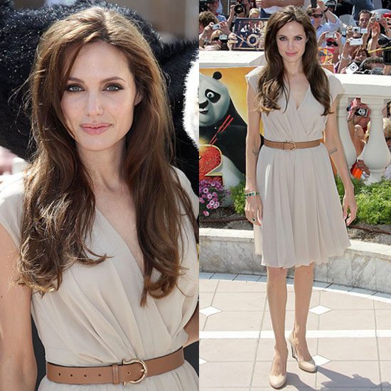 Pictures of Angelina Jolie in Nude Ferragamo Dress at Kung Fu Panda 2 at Cannes 2011