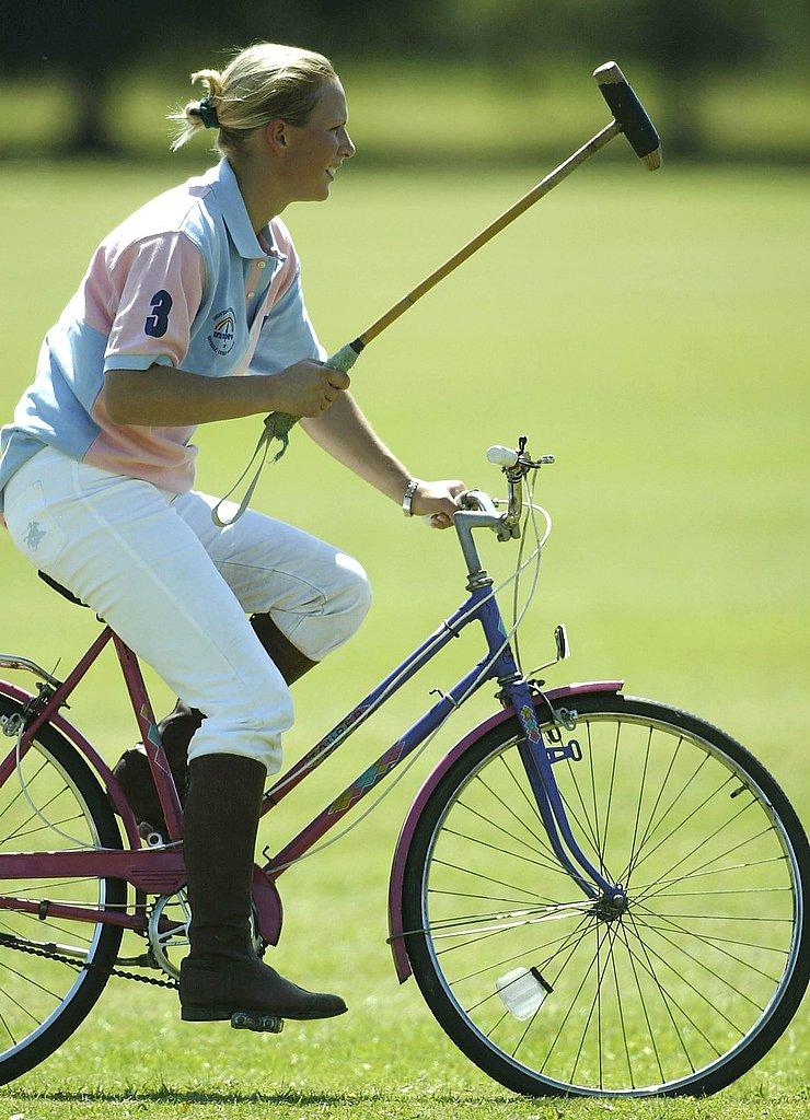 Zara played polo against jockeys in a charity match in 2003.