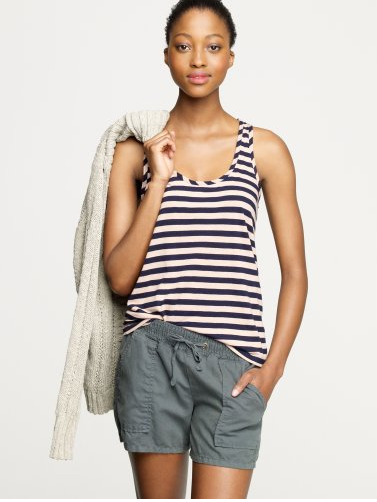 When it starts getting hot and sticky outside, cool your arms off in this classic tank version.  J.Crew Finespun Stripe Racerback Tank ($38)