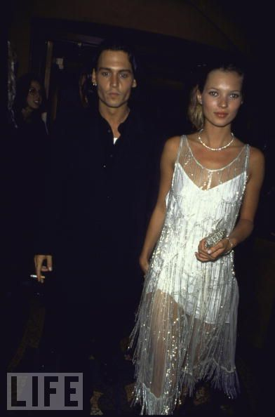 1994: Ed Wood premiere, in aCalvin Klein dress covered by vintage beaded flapper's chemise once owned by Mrs. Errol Flynn