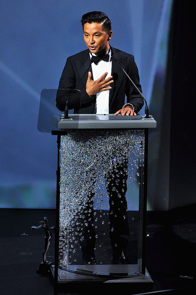 """Prabal Gurung, on accepting the Swarovski Award for Womenswear, said: """"For a guy from Nepal, you gave me the possibility to call my mom and tell her, 'I turned out OK,' so thank you."""" He also quipped: """"I want to thank the government for giving me unemployment checks for those few months."""""""