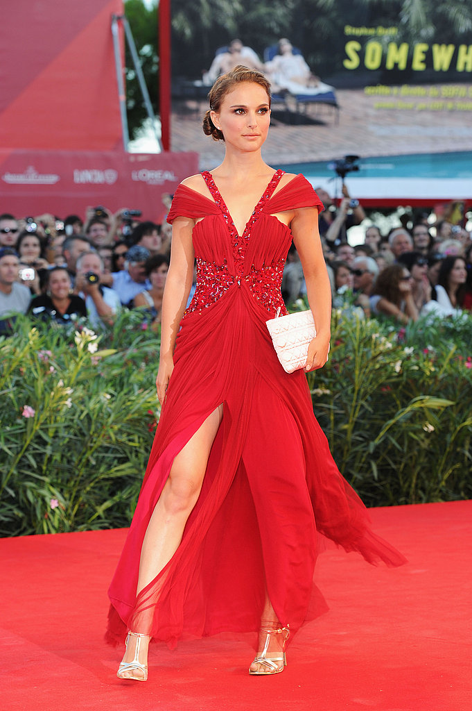 Natalie Portman in a Red Rodarte Gown at the 2010 Black Swan Venice Premiere
